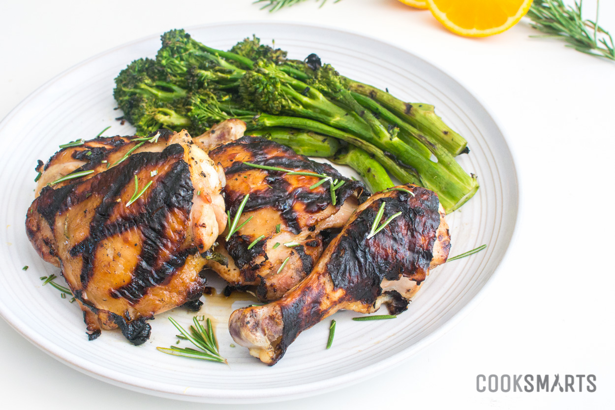 Grilled Orange-Rosemary Chicken with Garlic Fennel Broccolini | Weeknight Meal #recipe via @CookSmarts