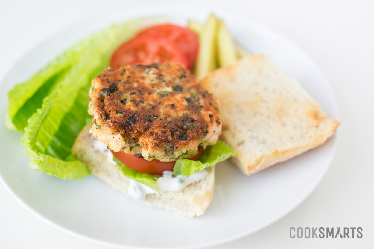 Salmon Burgers with Pickles and Homemade Tartar Sauce | Weeknight Meal #recipe via @CookSmarts